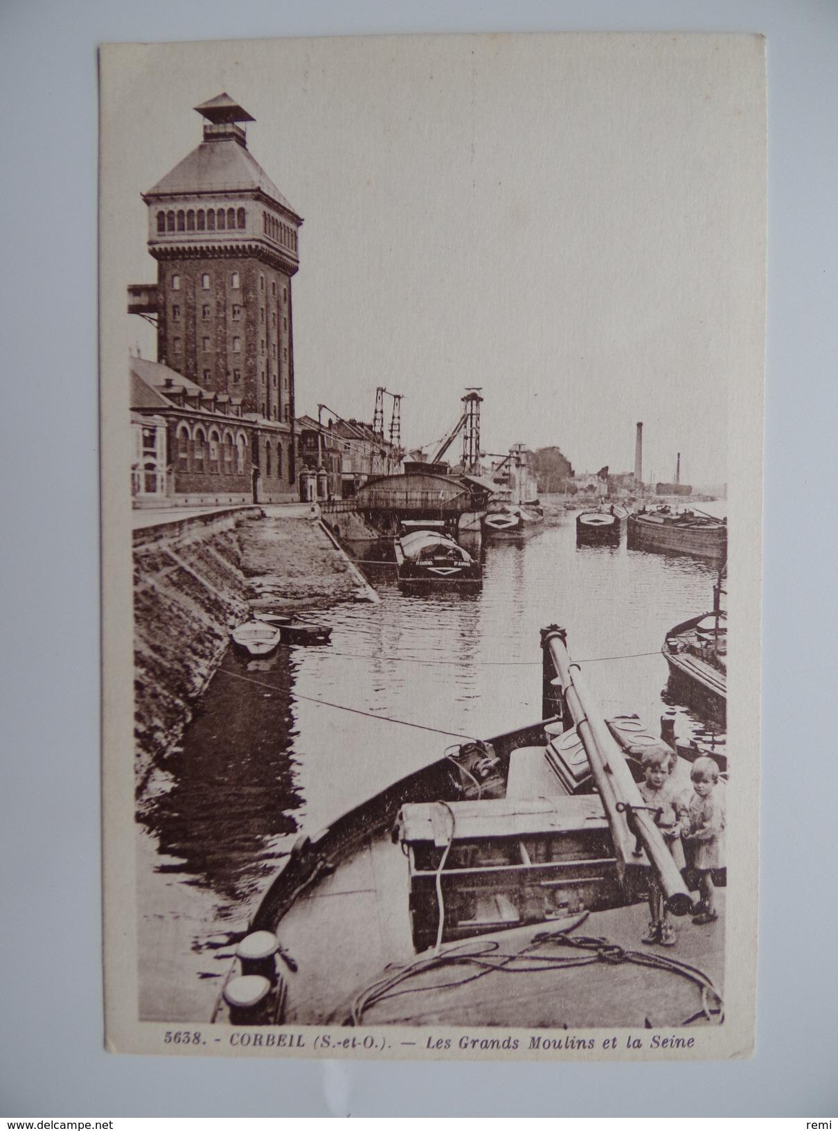 91 CORBEIL ESSONNES Les MOULINS Bords De Seine Barque De Pêche Péniche Canal Navigation Battelerie Marinier Ecluse Bief - Essonnes