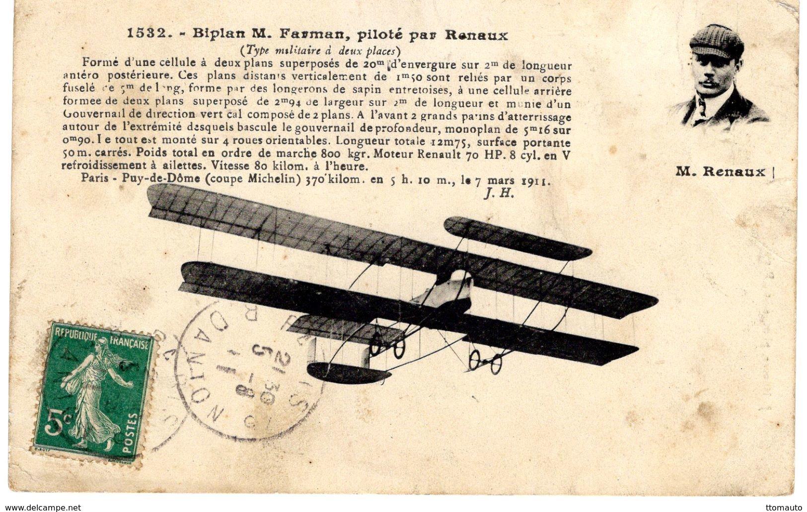 Monoplan Farman    -  Piloté Par Renaux  -  CPA - Aviadores