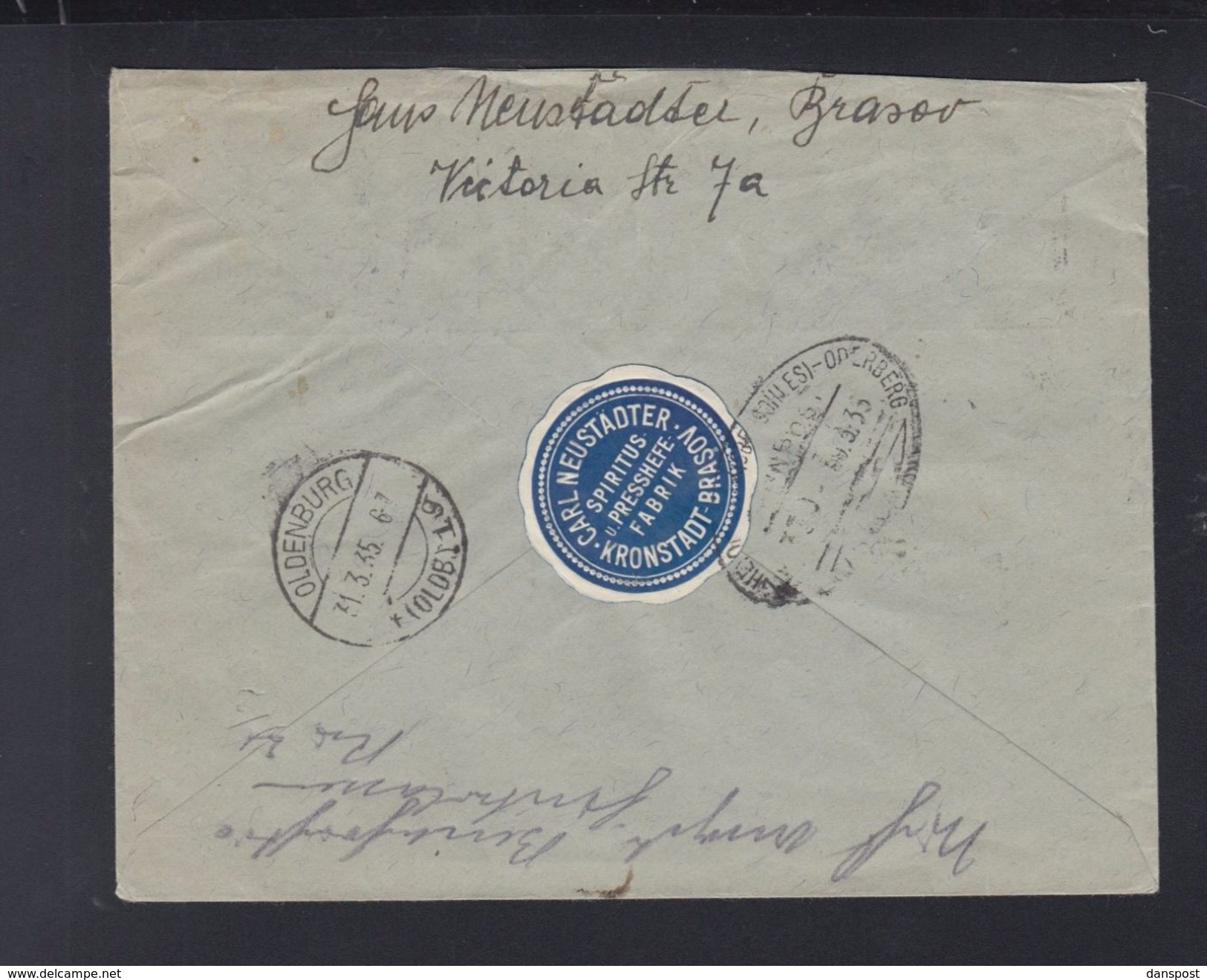 Romania Registered Cover 1935 Brasov To Oldenburg - 1918-1948 Ferdinand, Charles II & Michael