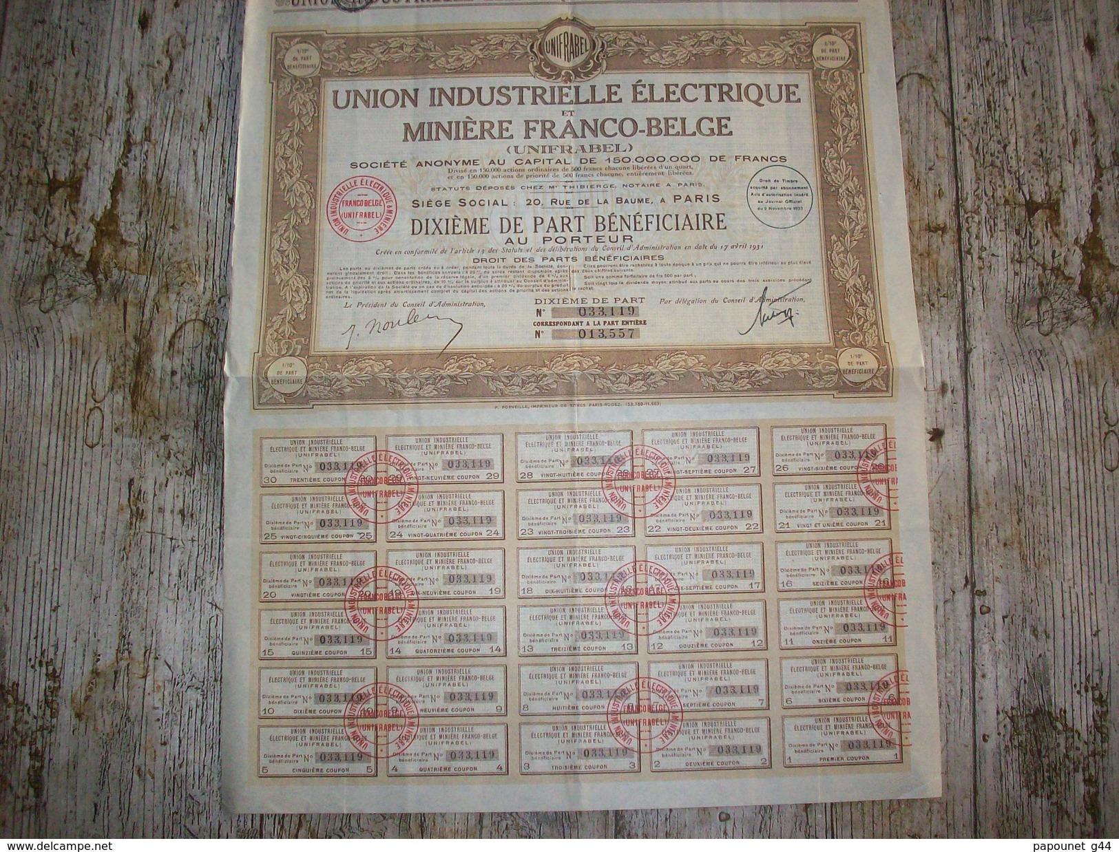 Action ( Union Industrielle Electrique Et Minière Franco - Belge ) - Electricité & Gaz