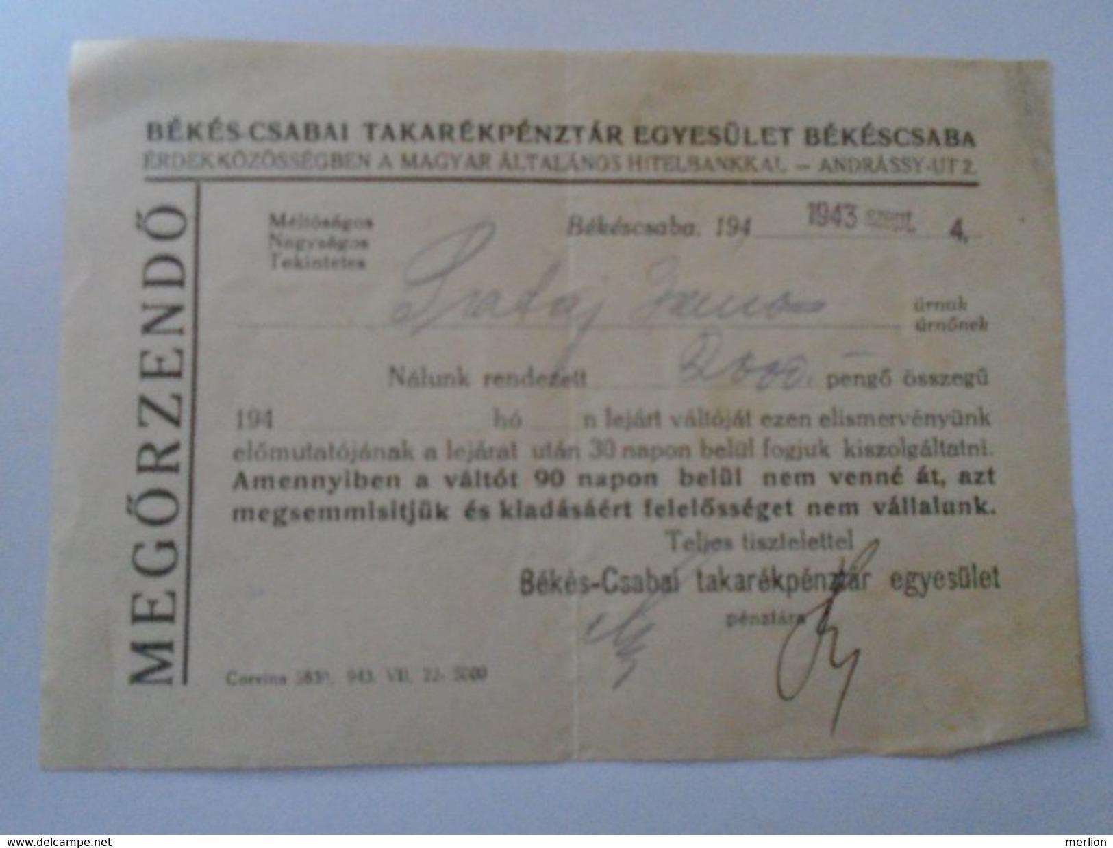 J2049.17 Hungary Békéscsaba Hitelbank  1943  2000 Pengö  - Recepit - Facturas & Documentos Mercantiles