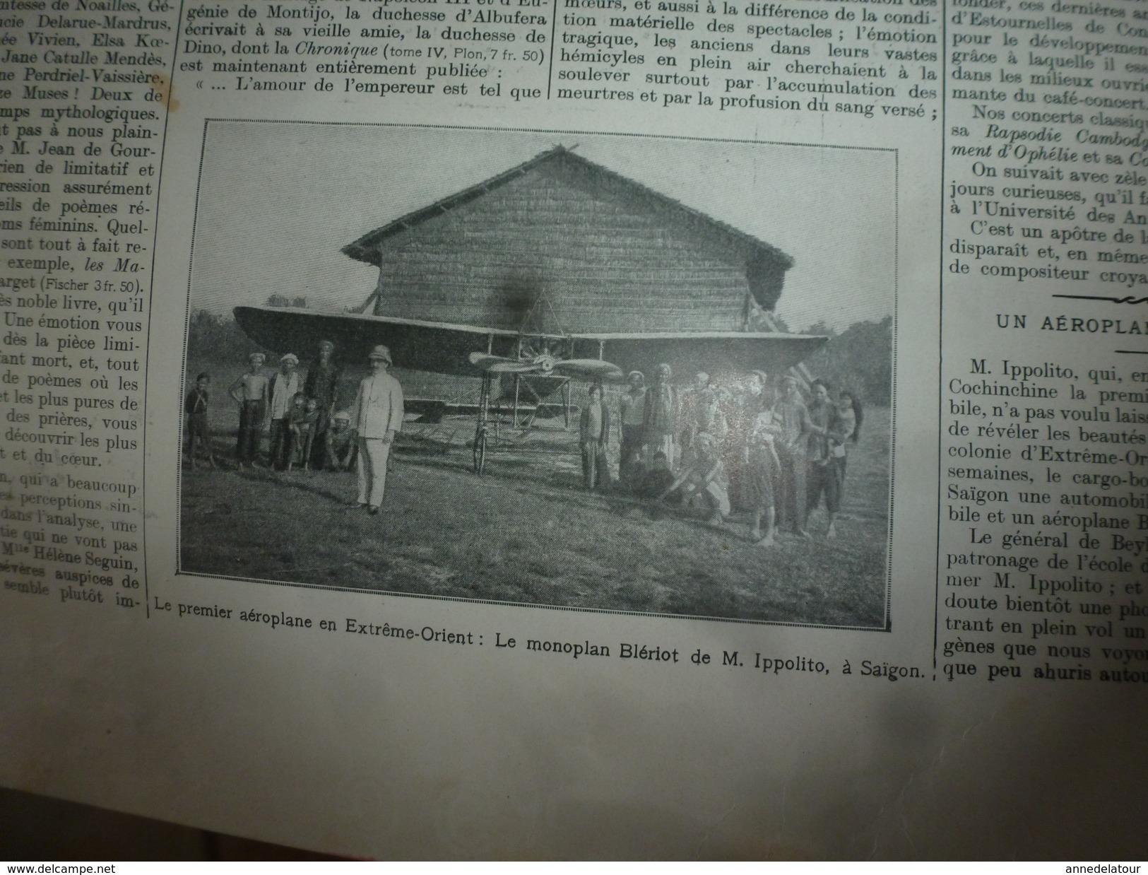 1910 L'ILLUSTRATION:Espagne;Wachter Tué-monoplan;Waldeck-Rousseau;Expo Bruxelles;Monoplan Blériot à Saïgon;Toulouse;etc - L'Illustration