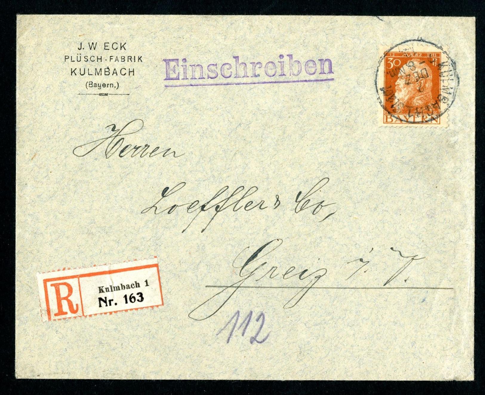 DR Einschreiben Bayern 1912 Kulmbach Nach Greiz L1019 - Deutschland