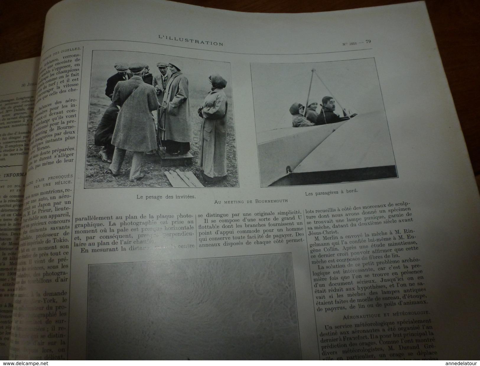 1910 L'ILLUSTRATION:Casablanca;L'ESSOR Sur Glacier Sardona;Meeting à Bournemouth;Dirigeable Ville-de-Lucerne;Cette ;etc - Journaux - Quotidiens