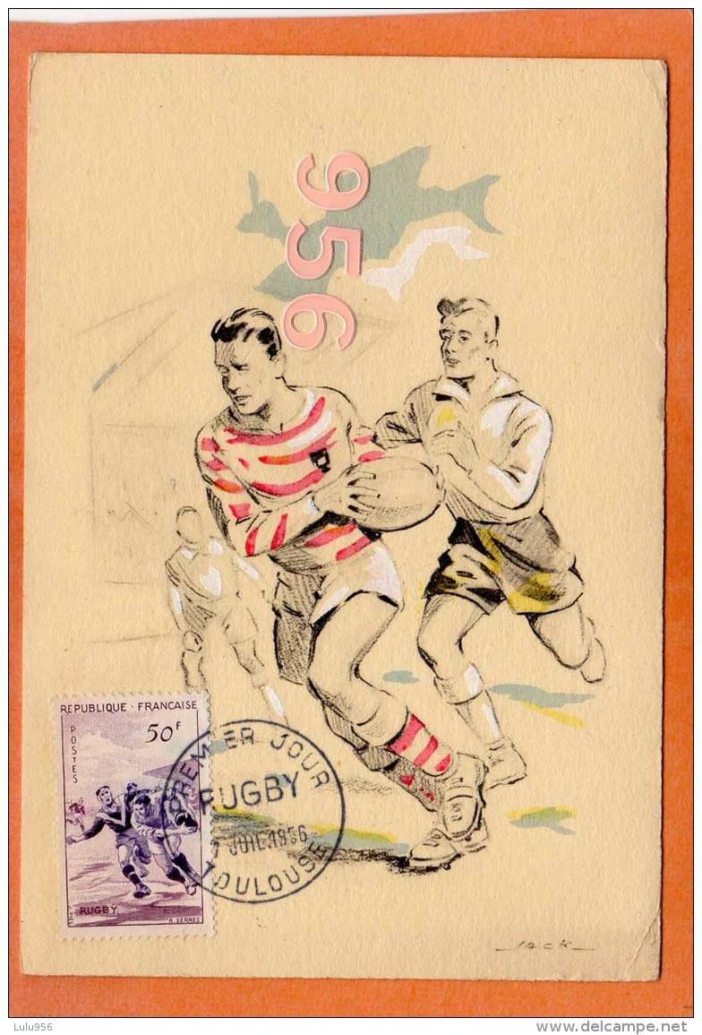 * * Carte Premier Jour * * Toulouse - 7 Juillet 1956 - Rugby