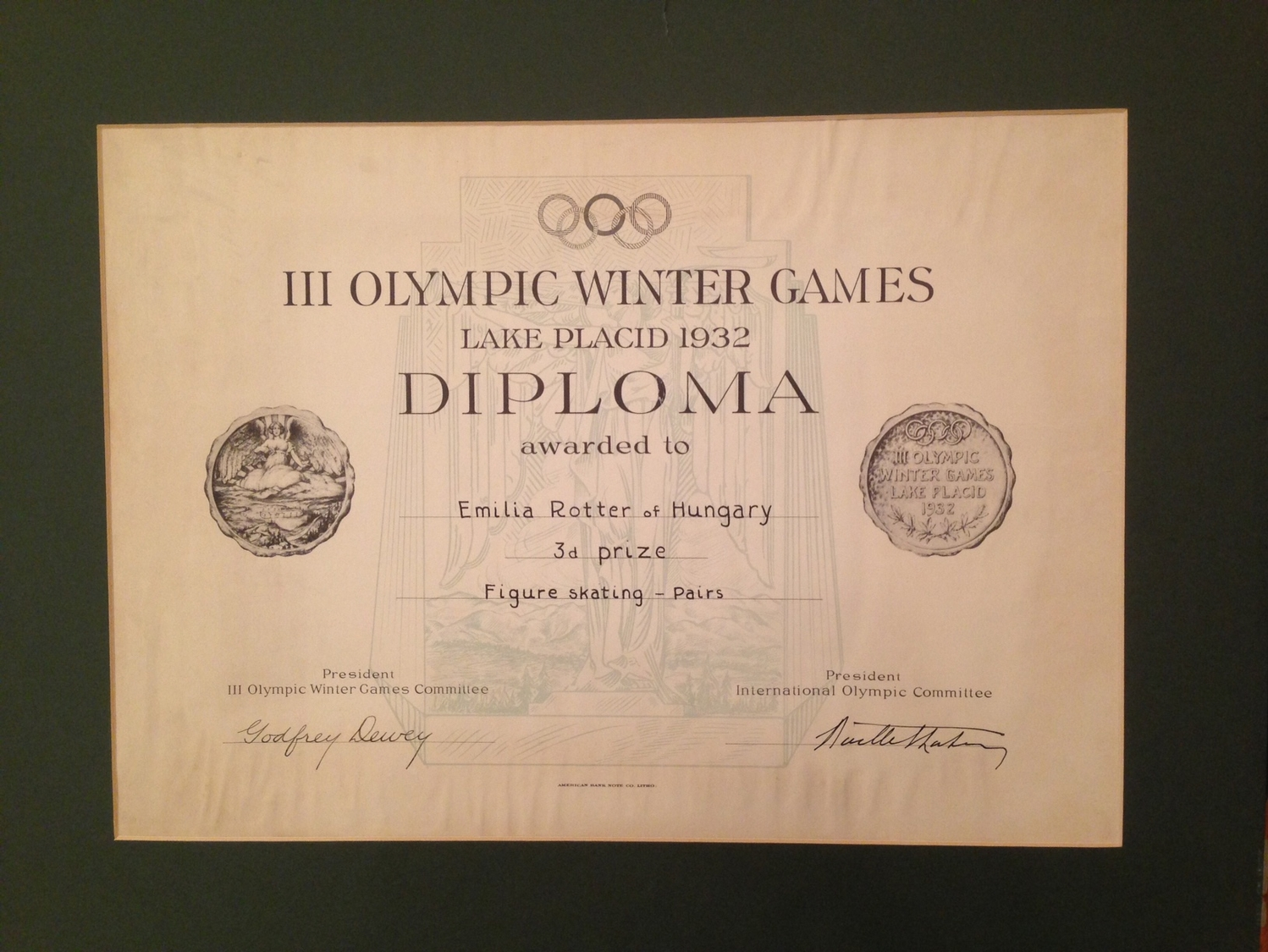 LAKE PLACID WINTER OLYMPICS 1932.  Bronze Medal And Attached Diploma! (one Of The 6 Medals Won By Hungarians!) R! - Badges