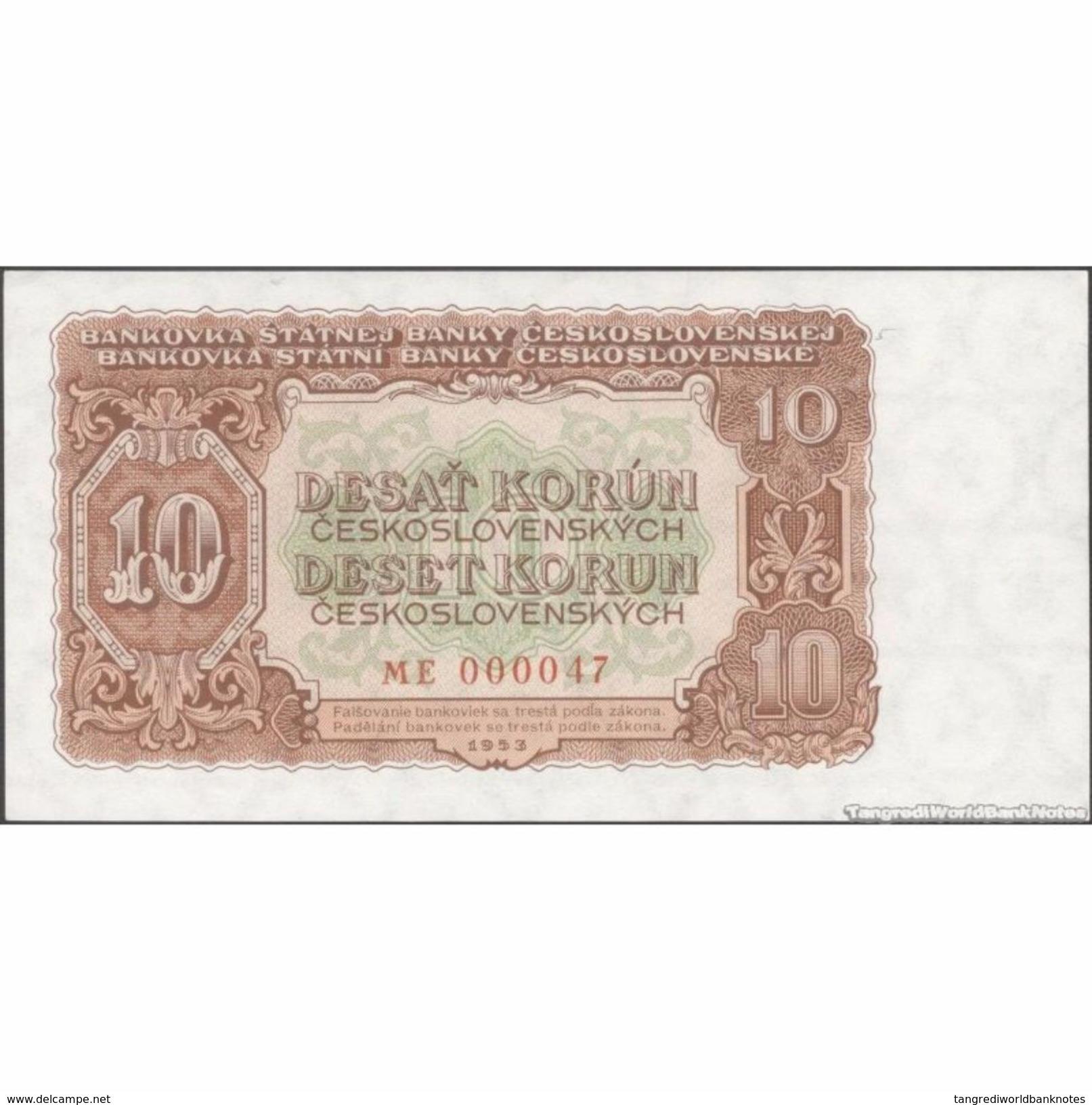 TWN - CZECHOSLOVAKIA 83b - 10 Korun 1953 Very Low Serial 0000XX - Prefix ME UNC - Tchécoslovaquie