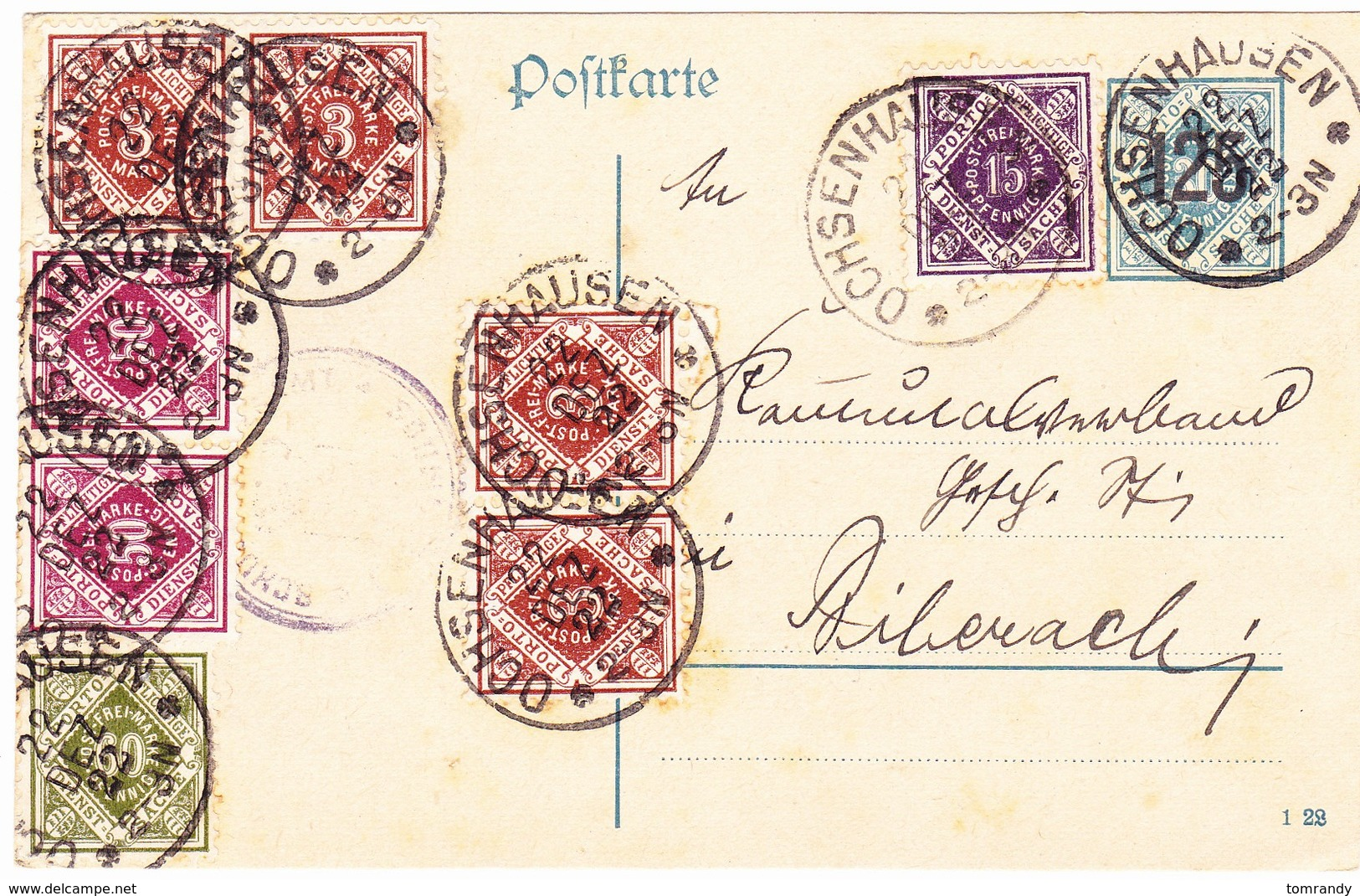 Ochsenhausen, Württembg. 1922, Dienstkarte - Wuerttemberg