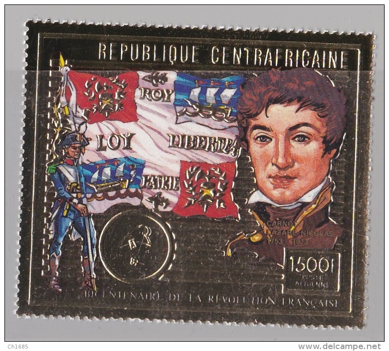 CENTRAFRIQUE :  Révolution Française Lazare Carnot   Timbre Or Et Multicolore - Révolution Française