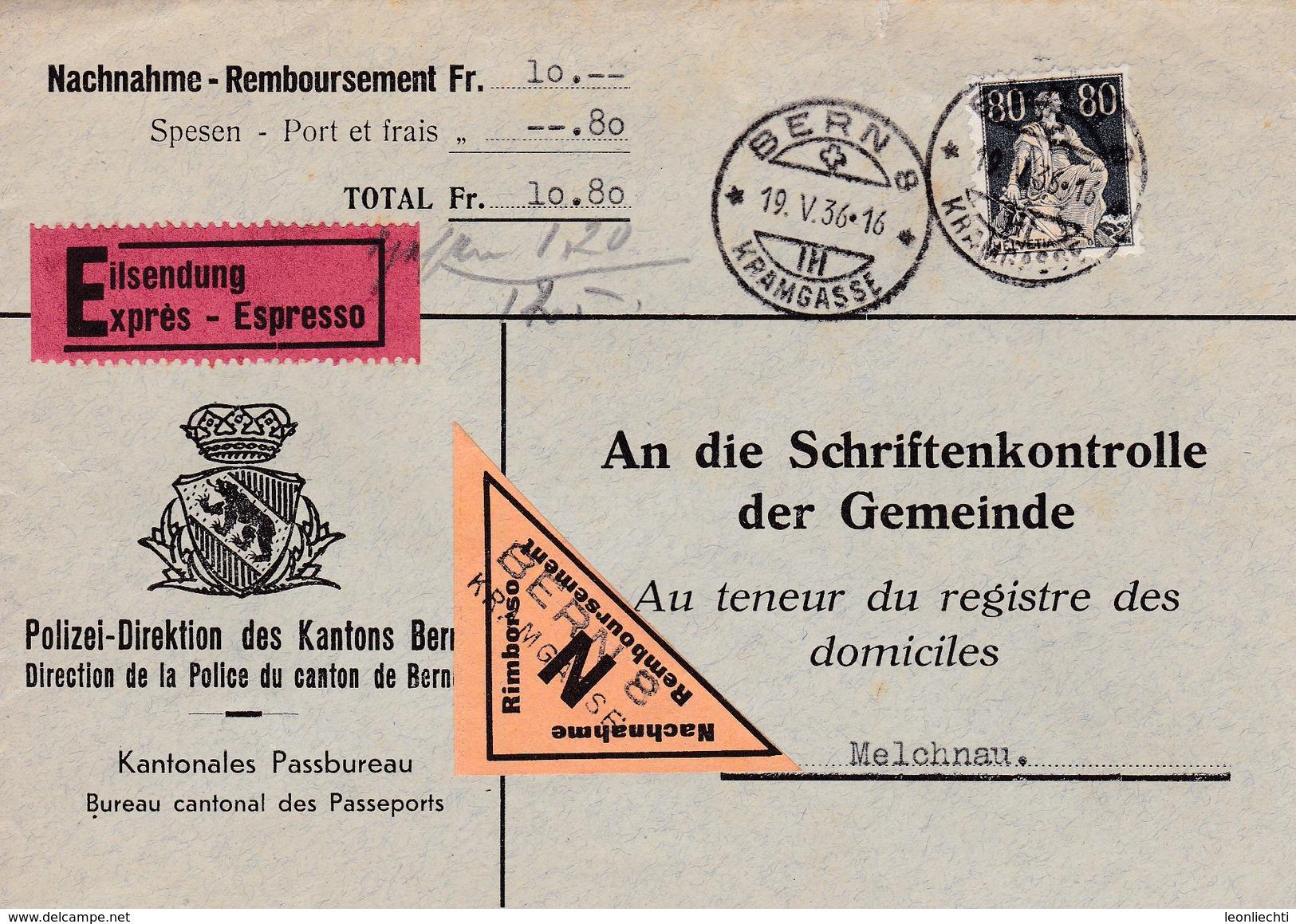 Brief Nachnahme - Eilsendung Von Bern Kramgasse Nach Melchnau Am 19.V. 1936. Mi: 141x - Lettres & Documents