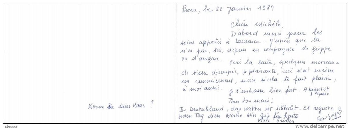 BONN  ALTES RATHAUS  DOCUMENT DEUX FEUILLETS  DESSINE  FORMAT 15cm Sur 10,5cm - Bonn