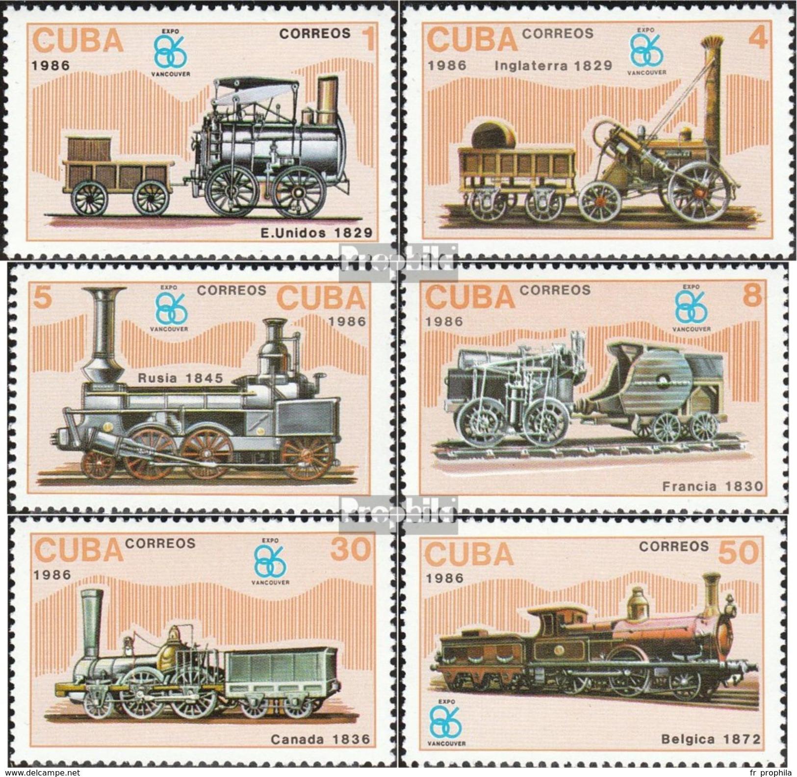 Cuba 3017-3022 (complète.Edition.) Neuf Avec Gomme Originale 1986 Locomotives - Kuba