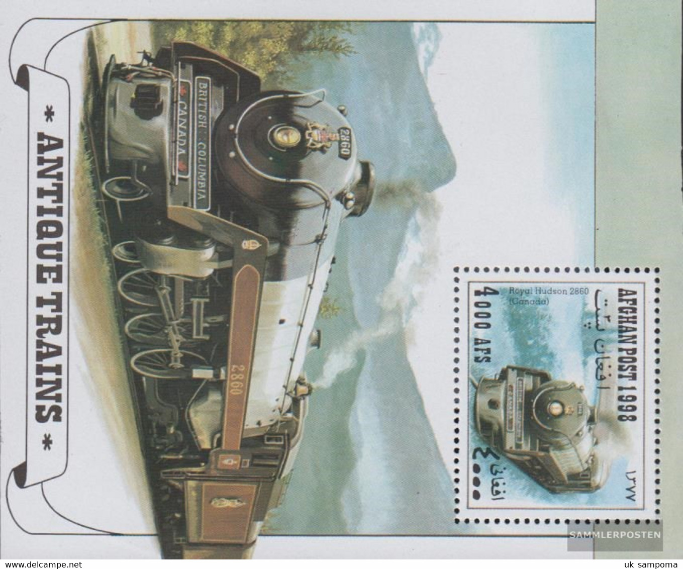Afghanistan Block100 (complete Issue) Unmounted Mint / Never Hinged 1998 Old Steam Locomotives - Afghanistan