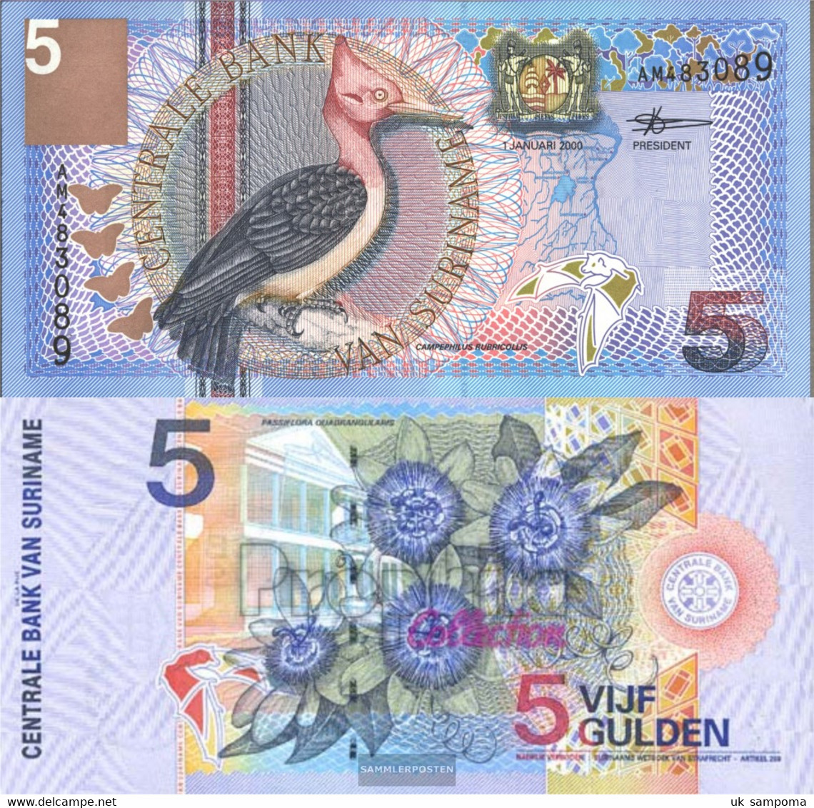 Suriname Pick-number: 146 Uncirculated 2000 5 Gulden Birds - Surinam