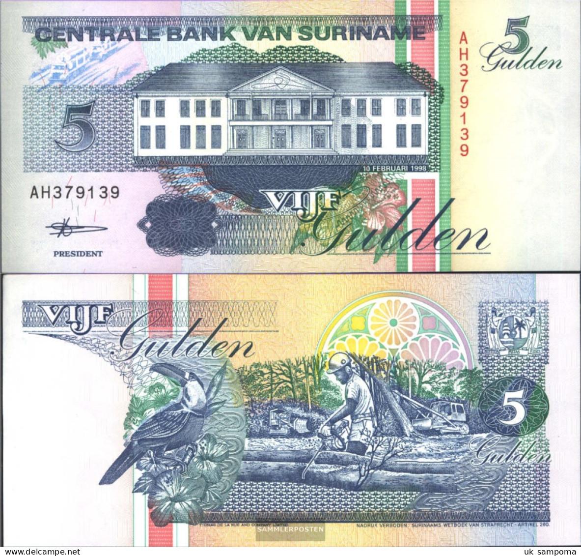 Suriname Pick-number: 136b (1998) Uncirculated 1998 5 Gulden - Surinam