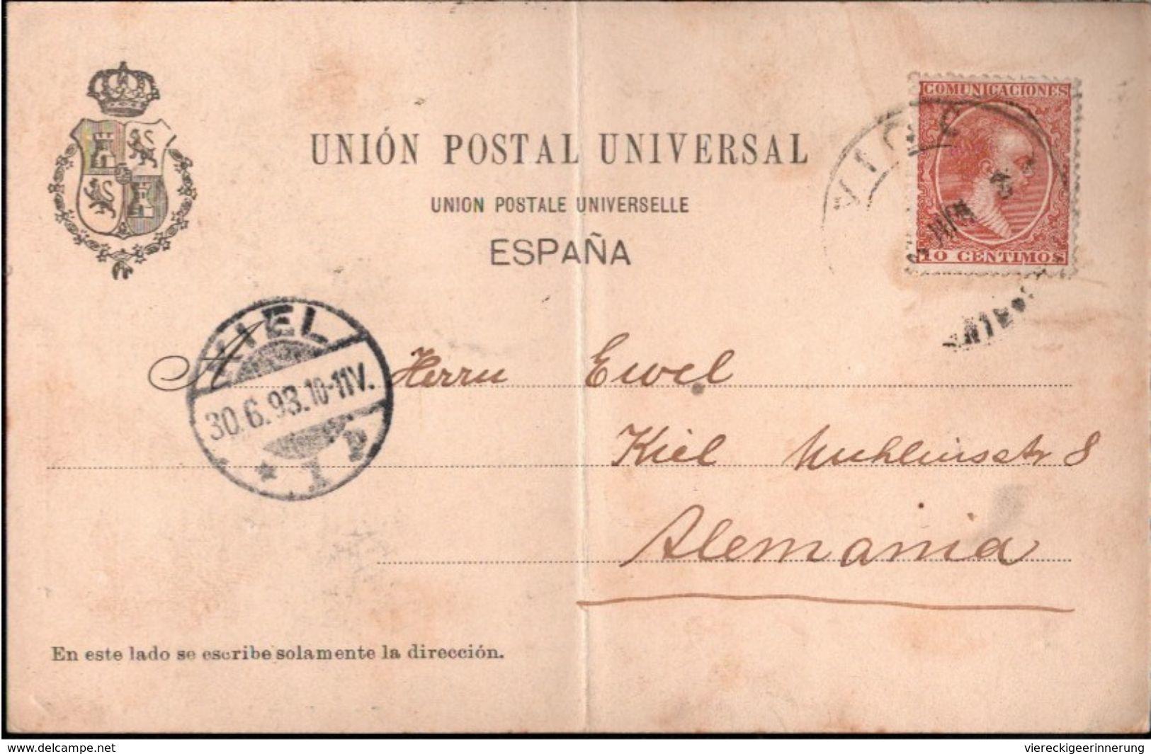 ! 1898 Alte Ansichtskarte Vigo, Spanien, Mittiger Knick - Pontevedra