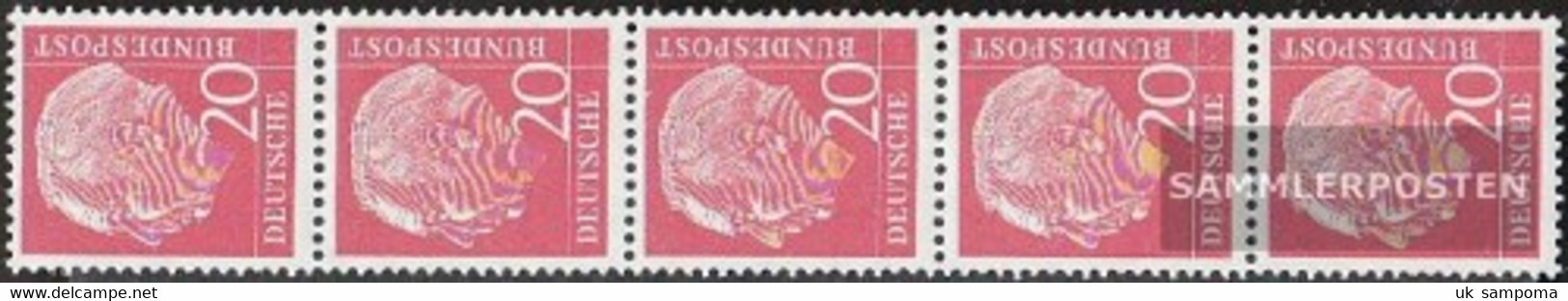 FRD (FR.Germany) 185x V R Five Strips Ribbed Gumming Unmounted Mint / Never Hinged 1954 Heuss - Unused Stamps