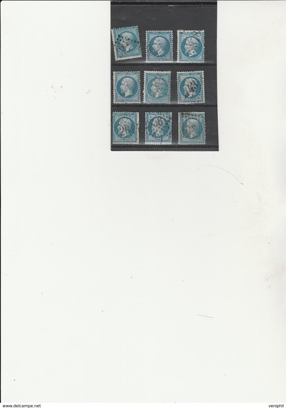 TIMBRE N° 22 - LOT DE 9 EXEMPLAIRES OBLITERES - TB - COTE / 18 € - 1862 Napoleon III