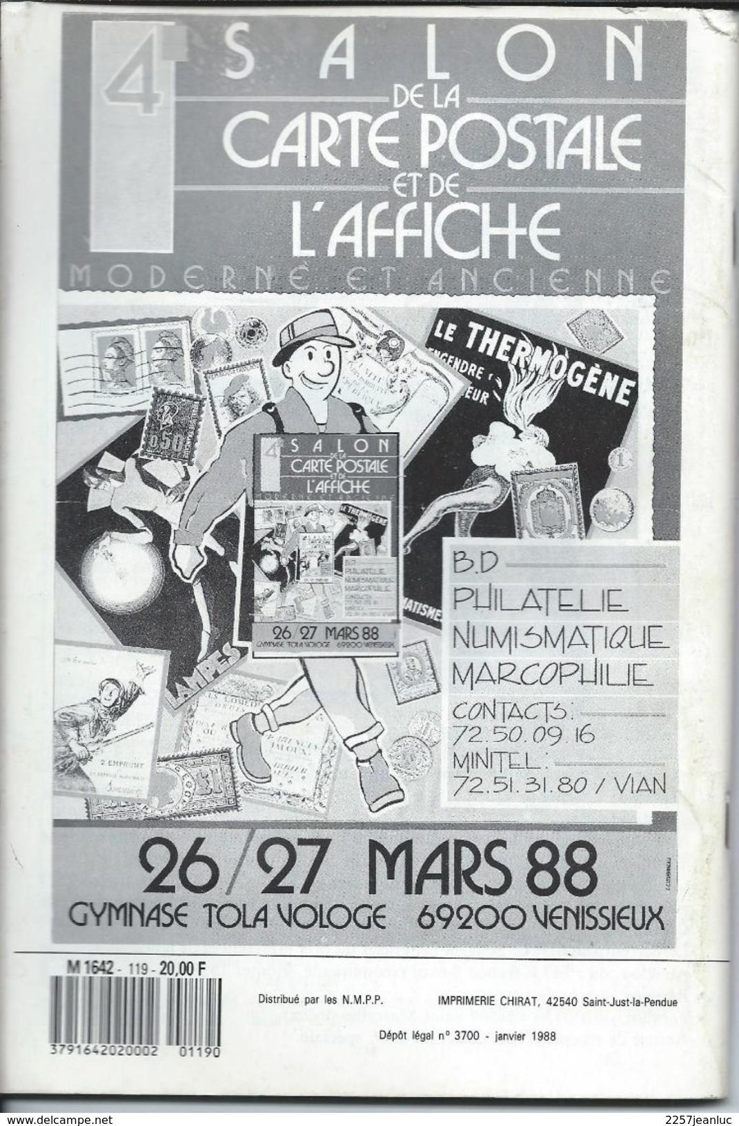 Cartes Postales Et Collections Fevrier 1988  Magazines N: 119 Llustration &  Thèmes Divers 120 Pages - Français