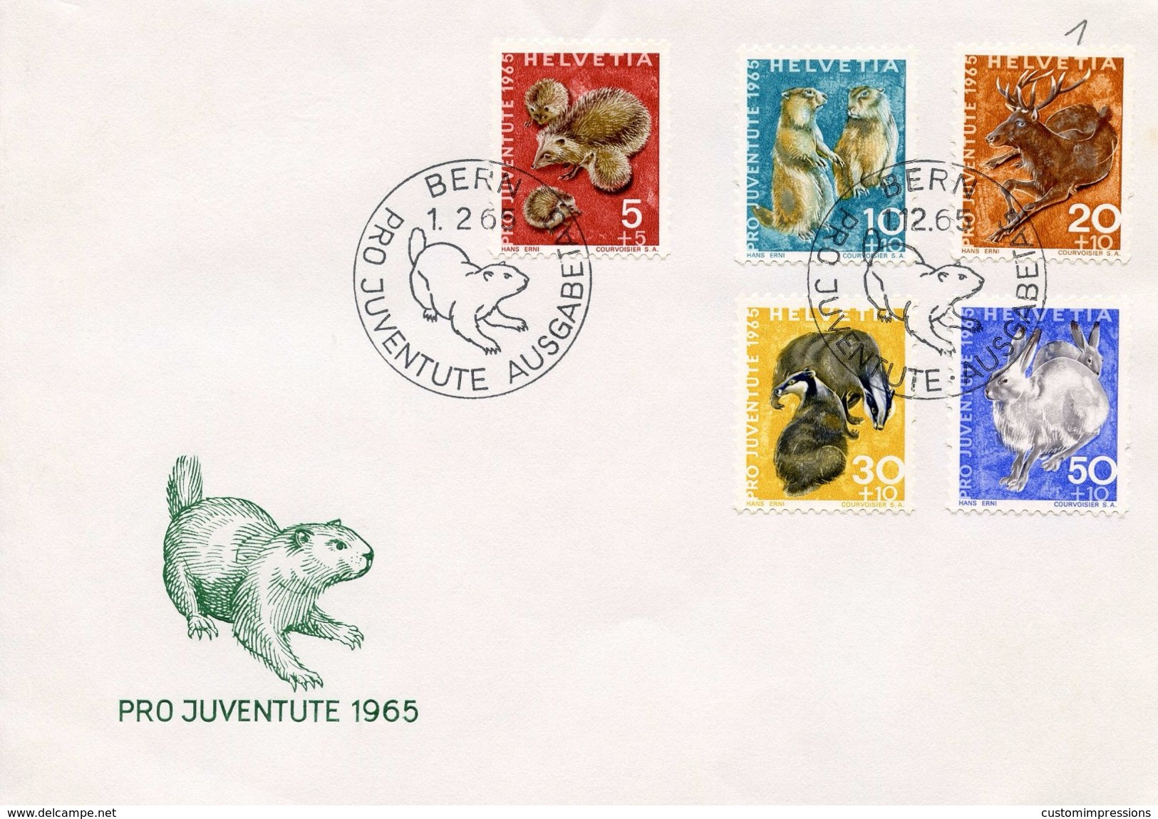 SWITZERLAND -  1965 Pro Juventute - Wild Animals  FDC1052 - Pro Juventute