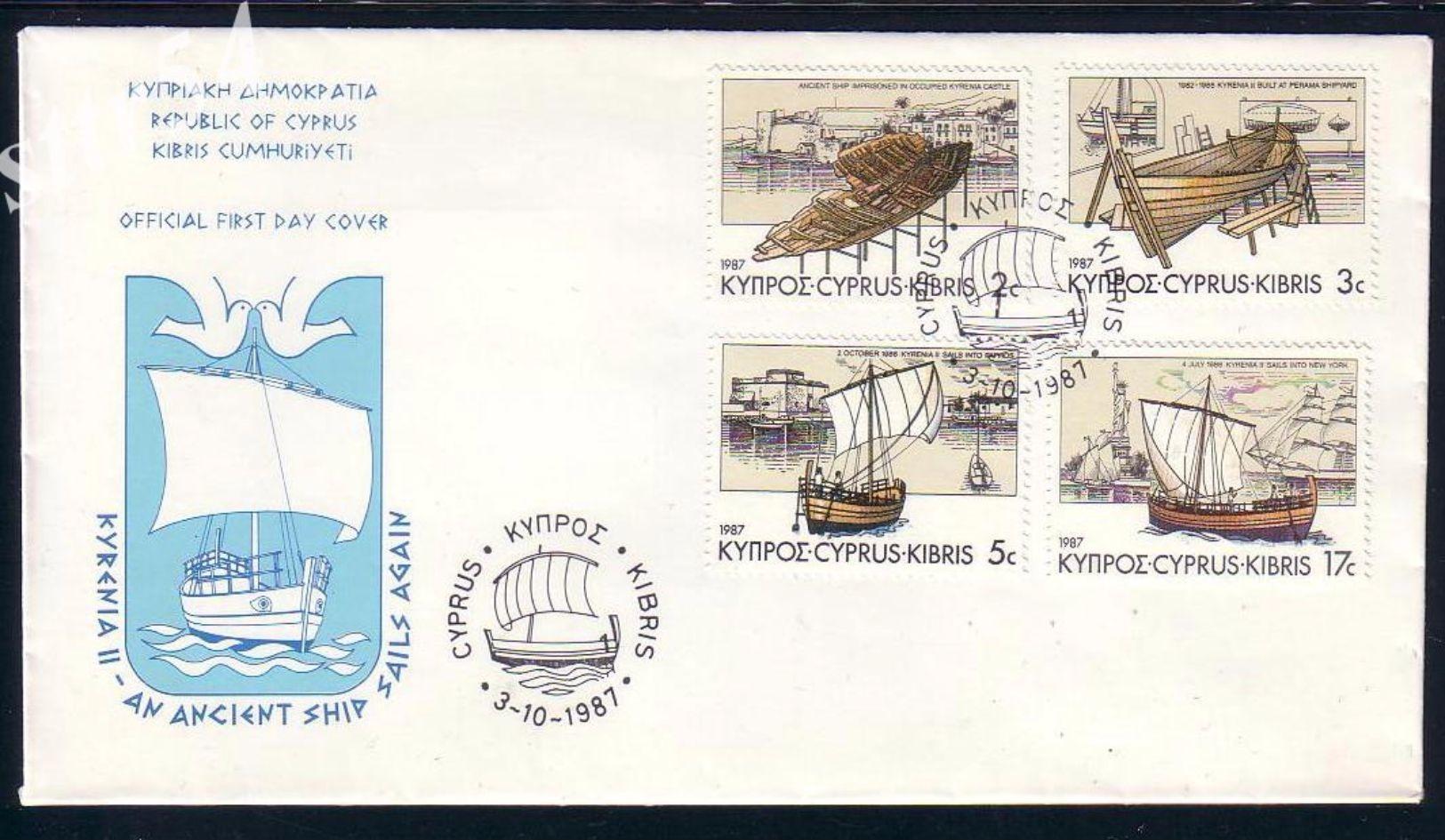 Cyprus FDC 1987 KYRENIA Ancient Ship - Lettres & Documents