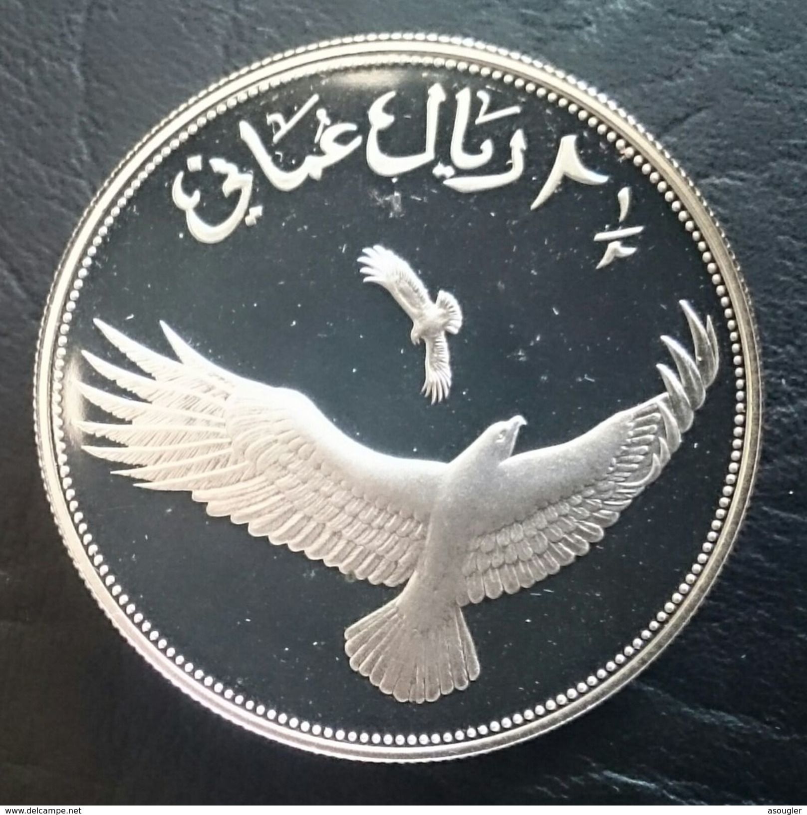 """OMAN 2 1/2  RIALS 1407 - 1987 SILVER PROOF """"World Wildlife Fund""""  (free Shipping Via Registered Air Mail) - Oman"""