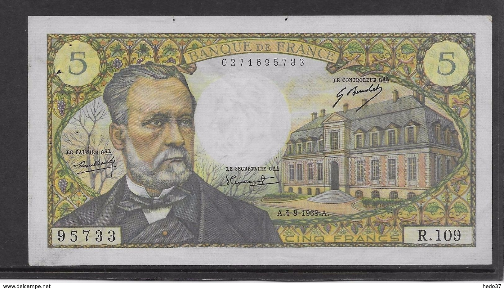 France 5 Francs Pasteur - 4-9-1969 - Fayette N° 61-11 - SUP - 1962-1997 ''Francs''