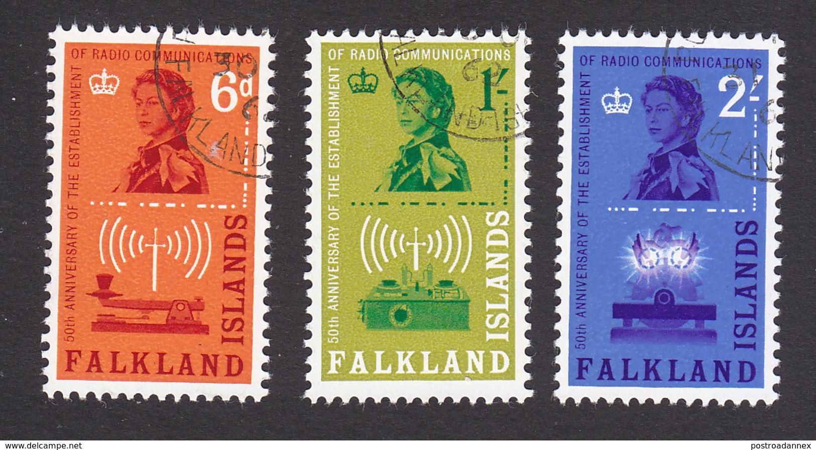 Falkland Islands, Scott #143-145, Used, Morse Key, Issued 1962 - Falklandeilanden
