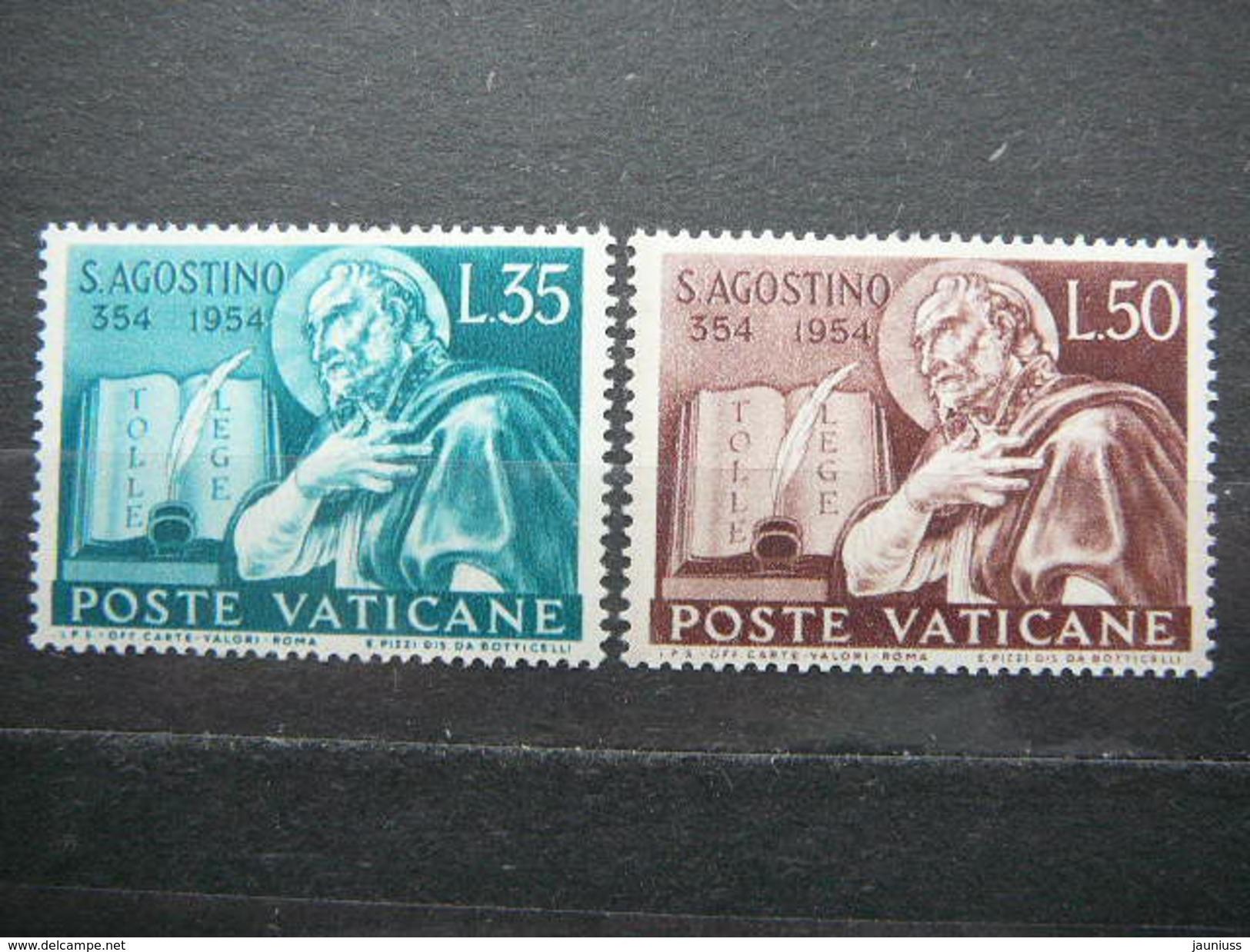Book And Portrait Of St. Augustine # Vatican Vatikan Vaticano MLH 1954 # Mi. 225/6 - Unused Stamps