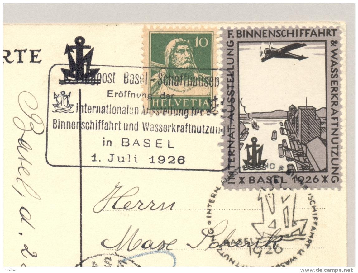 Schweiz - 1926 - 30c Portomarke On Flugpost Basel-Schaffhausen; Official Card Ausstellung Binnenschiffahrt Basel - Strafportzegels