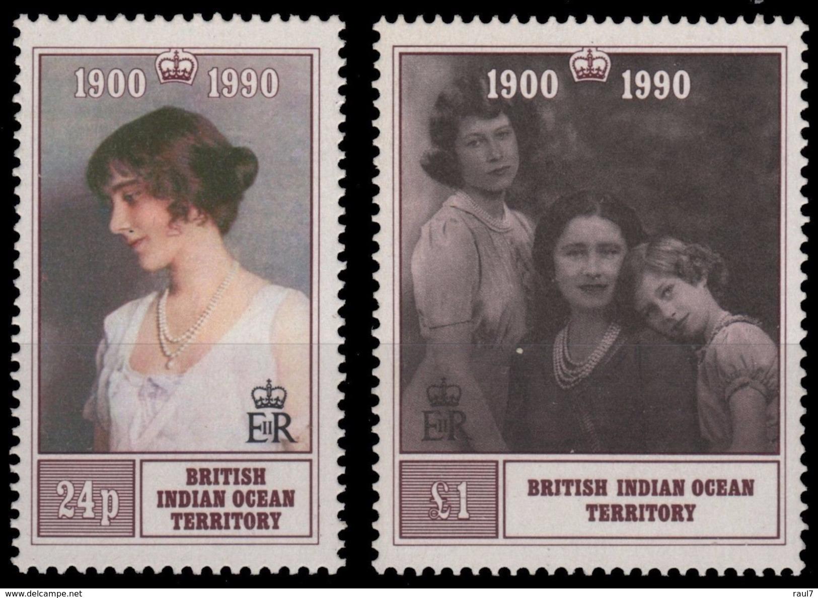 B.I.O.T. 1990 - 90e Ann Reine Mère - 2 Val Neufs // Mnh - Territoire Britannique De L'Océan Indien