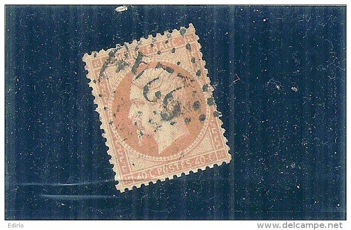 NAPOLEON III   N 23 Orange  - Côte 15€  1 Dent Courte TB - 1862 Napoleon III
