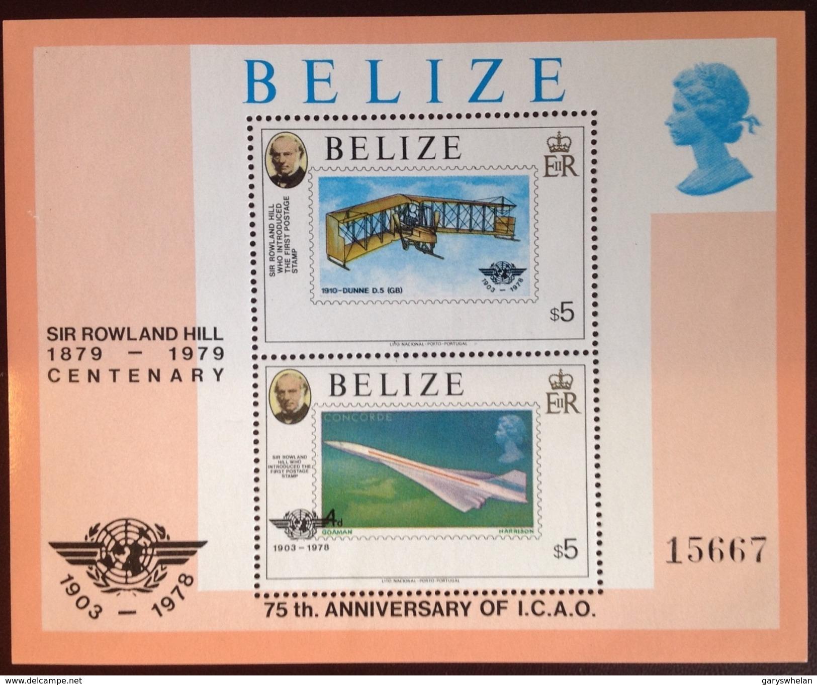 Belize 1979 Rowland Hill Aviation Minisheet MNH - Belize (1973-...)