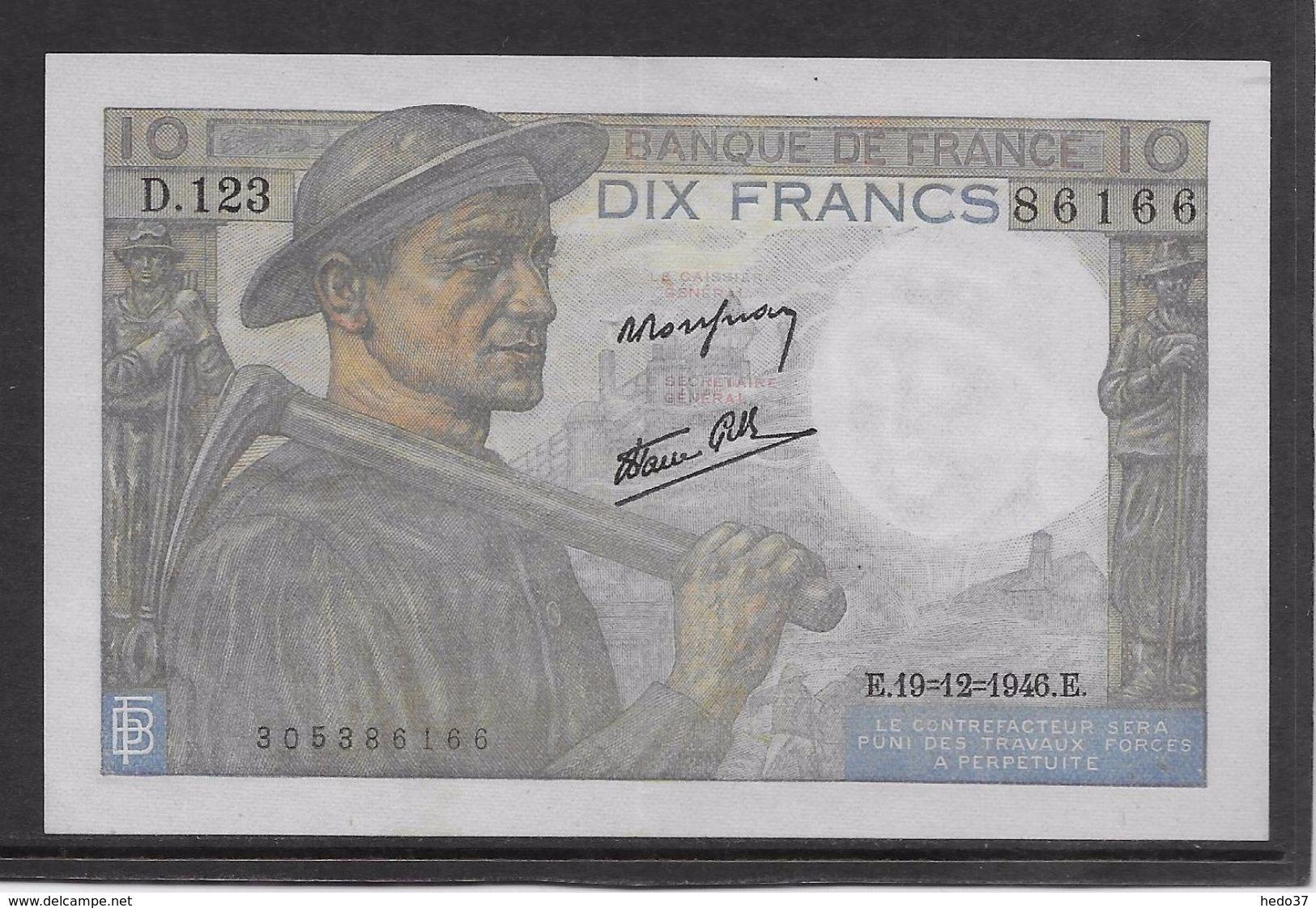 France 10 Francs Mineur 19-12-1946 - Fayette N°8-16 - SUP - 10 F 1941-1949 ''Mineur''