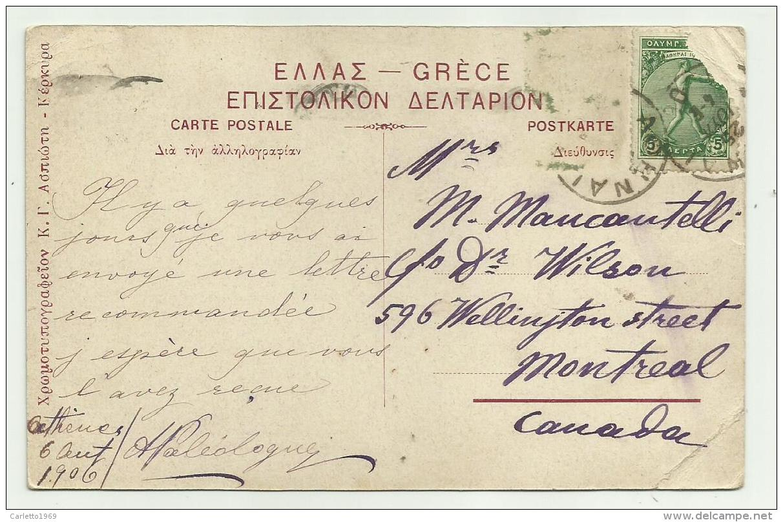 CORFOU - ILE D'ULYSSE 1906  VIAGGIATA FP - Grecia