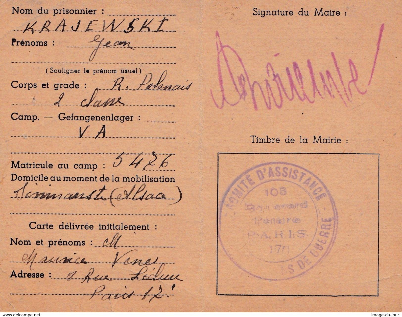 Carte De Colis Comité Central D'assistance Aux Prisonniers De Guerre Stalag VA - Guerre De 1939-45