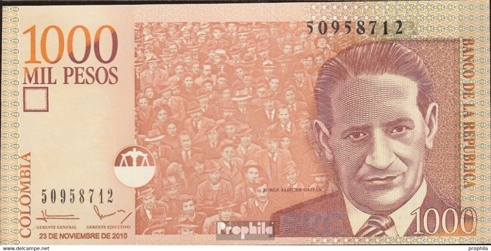 Kolumbien Pick-Nr: 456m Bankfrisch 2010 1.000 Pesos - Colombia
