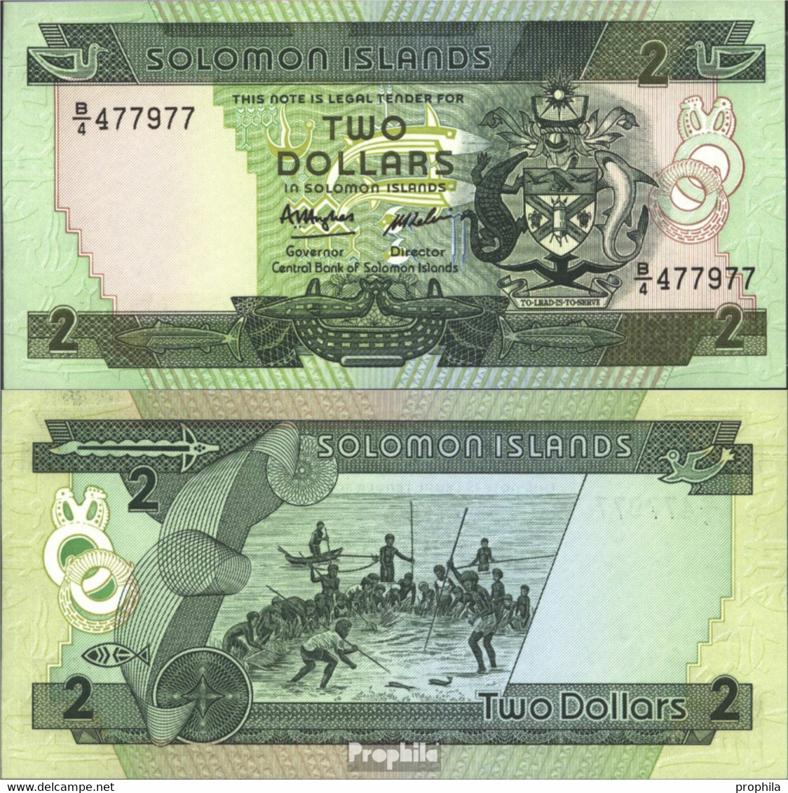 Salomoninseln Pick-Nr: 13a Bankfrisch 1986 2 Dollars - Salomons