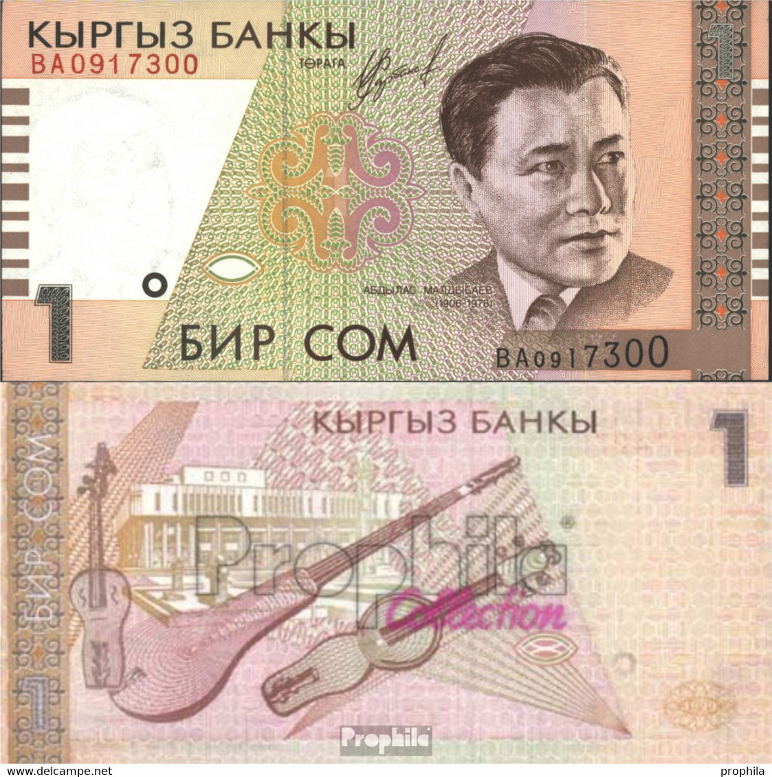 Kirgisistan Pick-Nr: 15a Bankfrisch 1999 1 Som - Kirgisistan