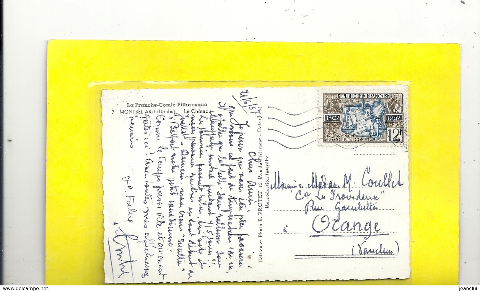 Cpsm Format Cpa.LA FRANCHE-COMTE PITTORESQUE.7. MONTBELIARD . LE CHATEAU . AFFR LE 21-6-1957 . 2 SCANES - Montbéliard