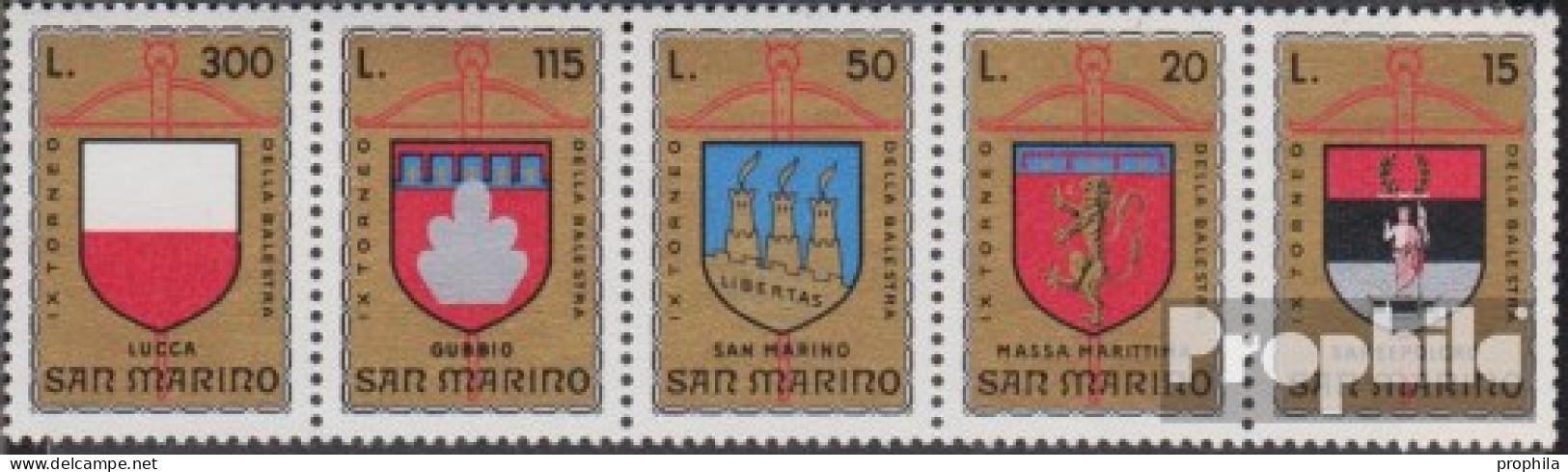 San Marino 1070-1074 Fünferstreifen (kompl.Ausg.) Postfrisch 1974 Armbrustturnier - Ungebraucht