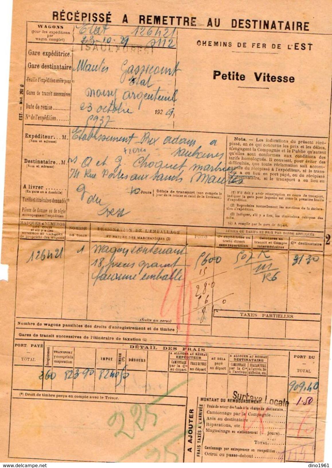 VP11.731 - Chemins De Fer De L'Est - Récépissé - Gare De SAULXURES  Pour MANTES - GASSICOURT - Transportation Tickets
