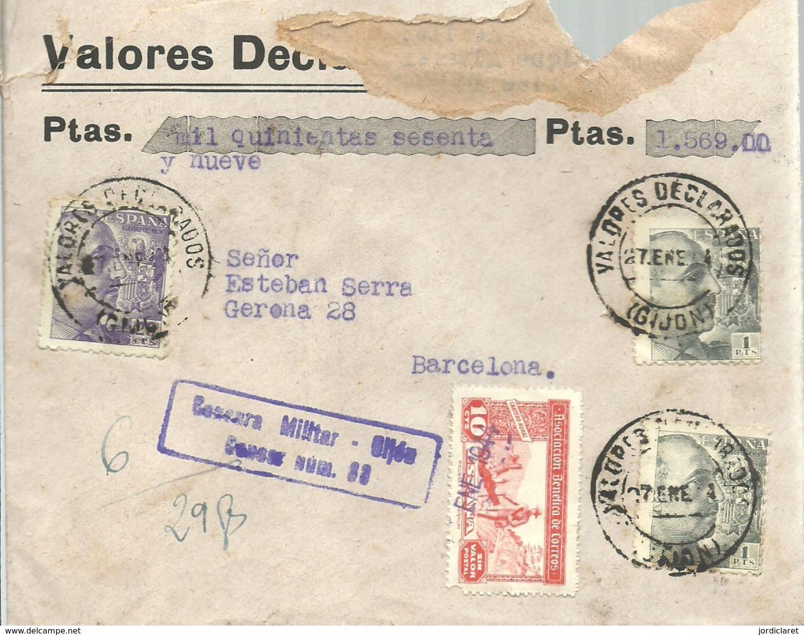 CARTA VALORES DECLARADOS 1944  CENSURA GIJON - Marcas De Censura Nacional