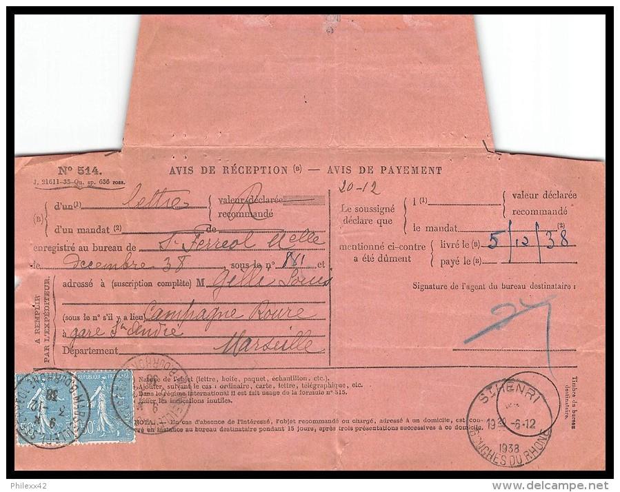7344 Lettre Avis De Reception Bouches Du Rhone N°362 Semeuse Paire 1938 Marseille Saint Henri - Postmark Collection (Covers)