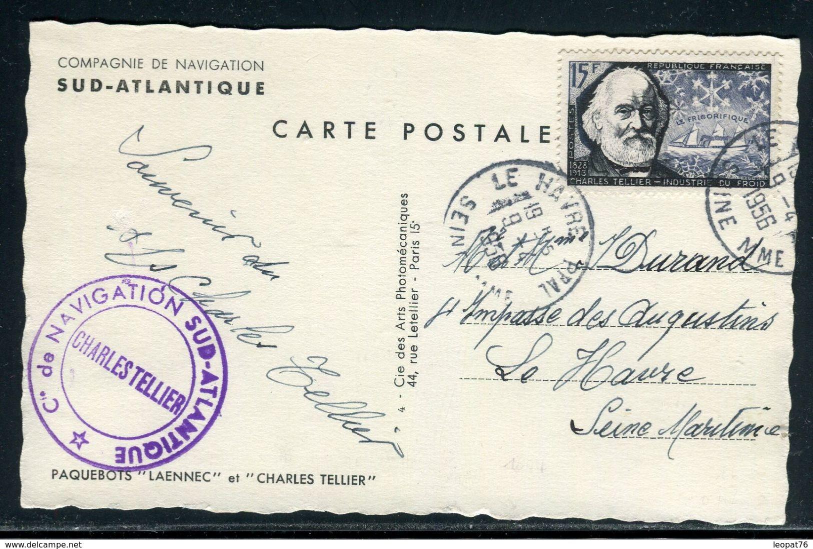 """France - Carte Postale Souvenir Du Bateau """" Charles Tellier """" En 1956 Du Havre - Ref D131 - Postmark Collection (Covers)"""