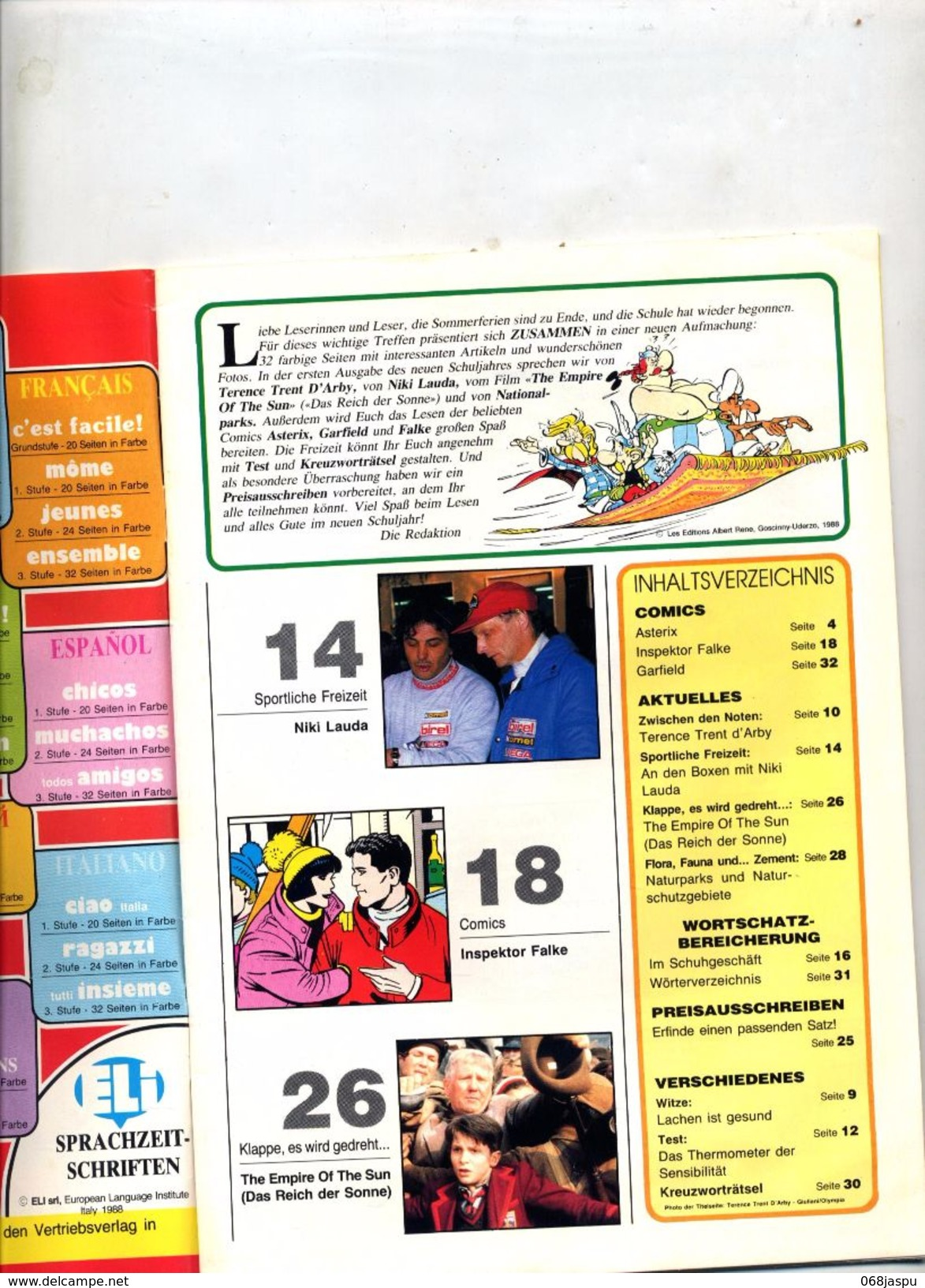 Revue Zu Sammen Septembre 1988 Theme Asterix Lauda Garfield - Revues & Journaux
