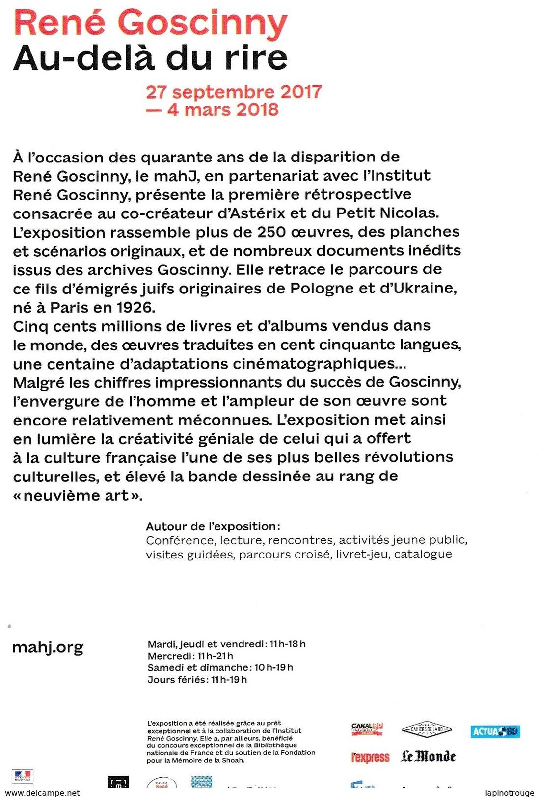 Carte Postale GOSCINNY René Exposition Majh Paris 2017 (Astérix Lucky Luke Iznogoud...) - Ansichtskarten