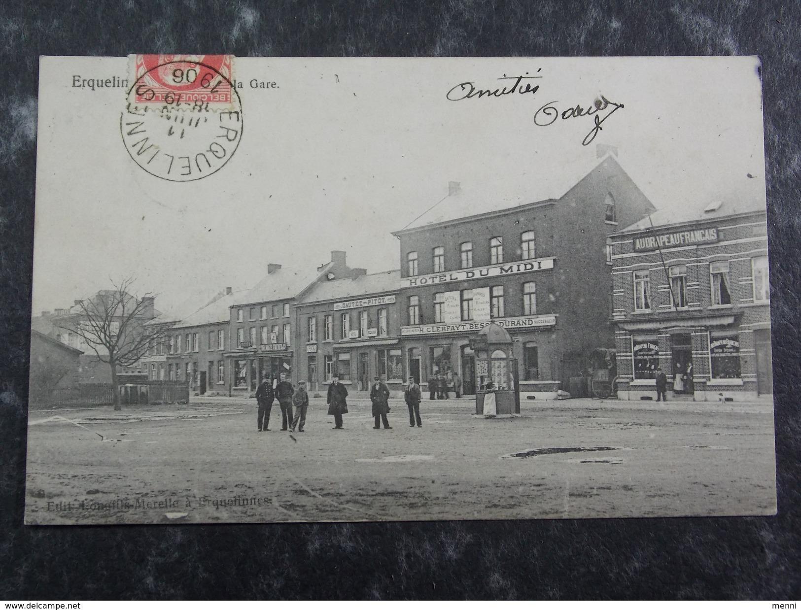 CPA Postcard - BELGIQUE - ERQUELINNES - Place De La Gare Hotel Du Midi - Erquelinnes