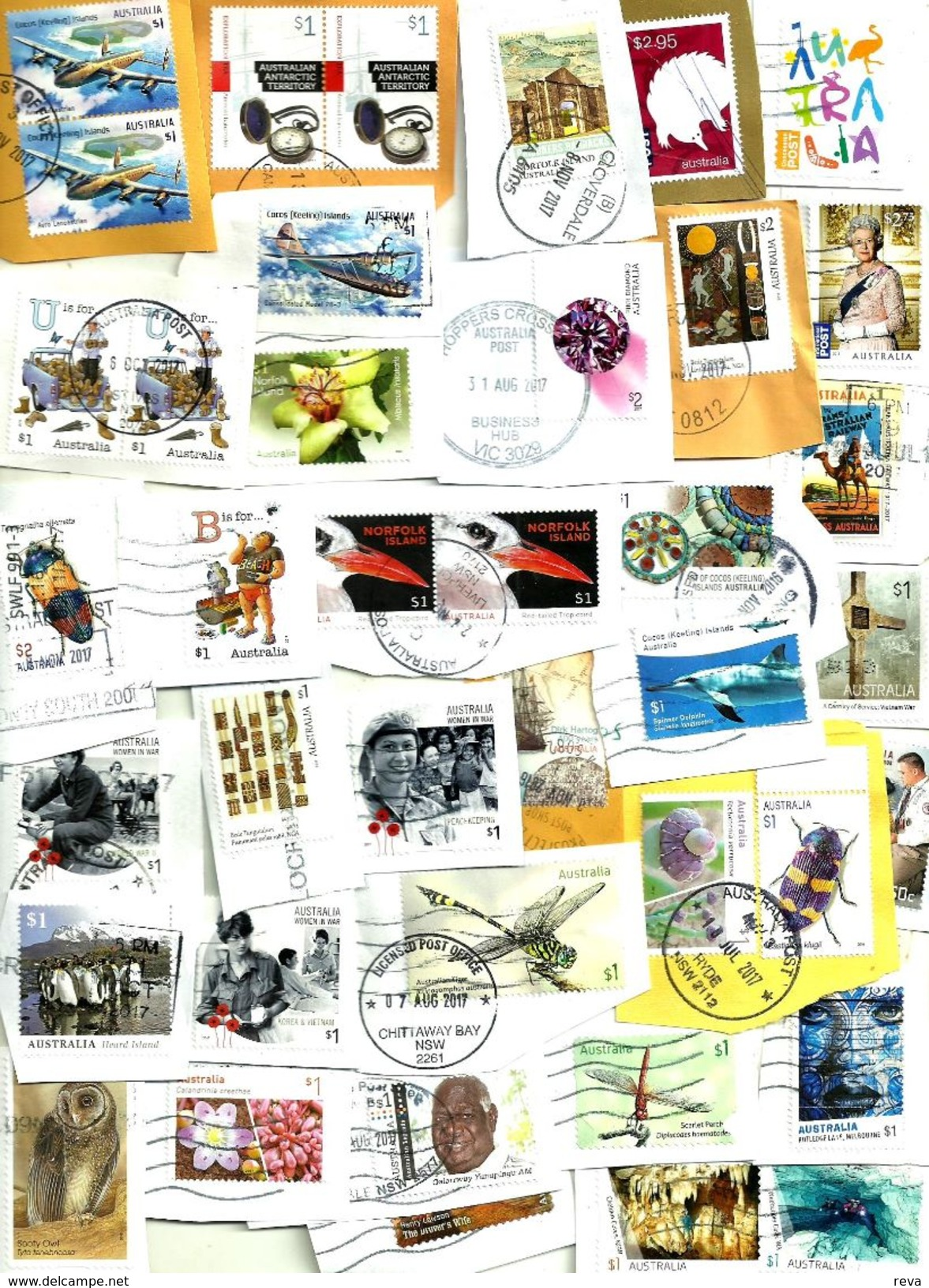 """AUSTRALIA LOT8 MIXTURE OF50+USED STAMPS SOME 2014/17 INC.NEW""""CONCESSION"""",NI $2,CI""""AIRPLANE"""" ETC READ DESCRIPTION!! - Timbres"""