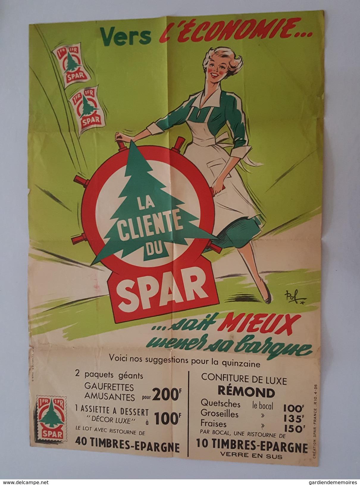 Affiche Ancienne Magasin Spar Illustrée Par Pol - La Ménagère - Pub Confiture Rémond - Posters